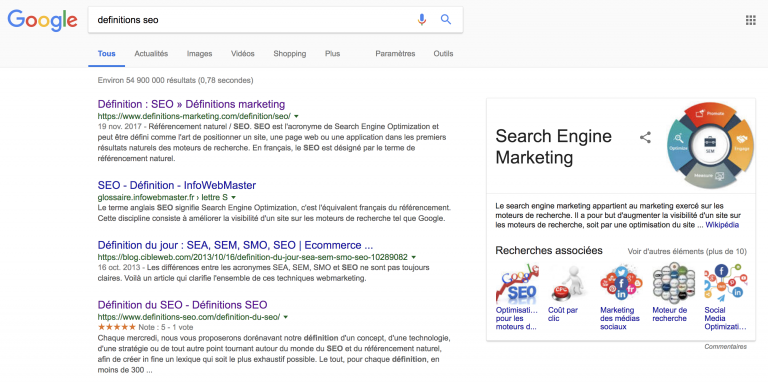 Definition D Une Serp Definitions Seo